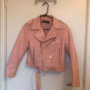 Zara baby pink faux leather jacket